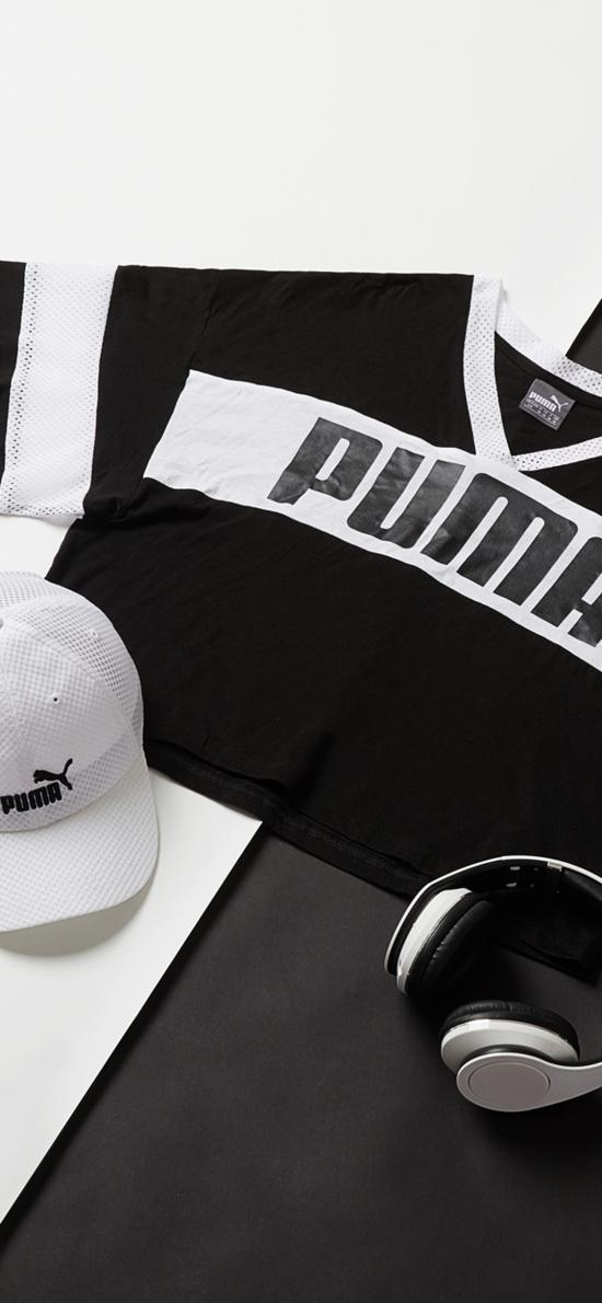 靜物 PUMA 衣物 帽子 耳機 黑白