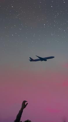 飞机 星空 夜晚 粉 唯美