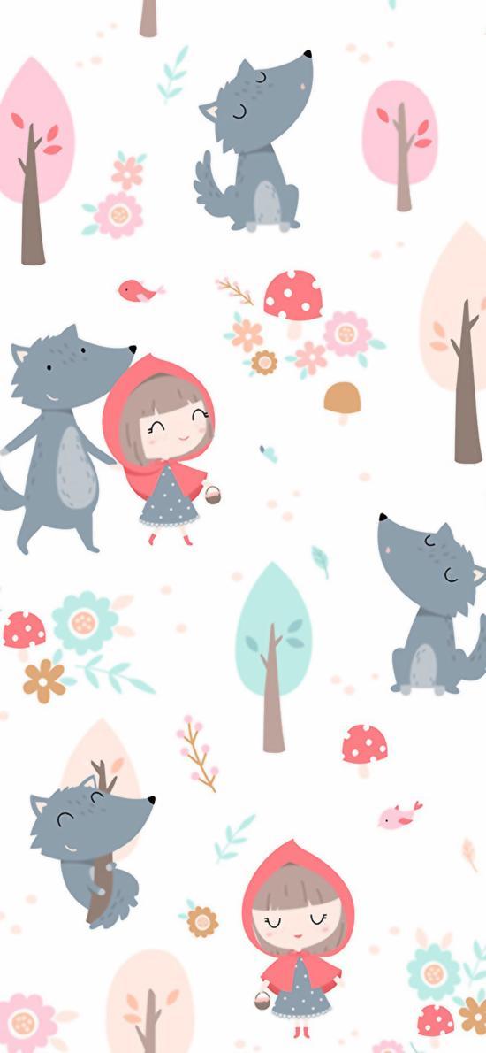 小红帽 大灰狼 平铺 树木 童话