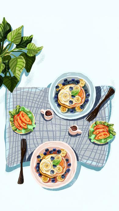 美食 绘画 松饼 甜品