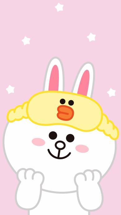可妮兔 卡通 line friends 粉色 眼罩