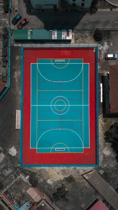 俯拍 球场 操场 运动