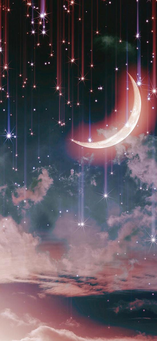 月亮 炫酷 流星 夜晚