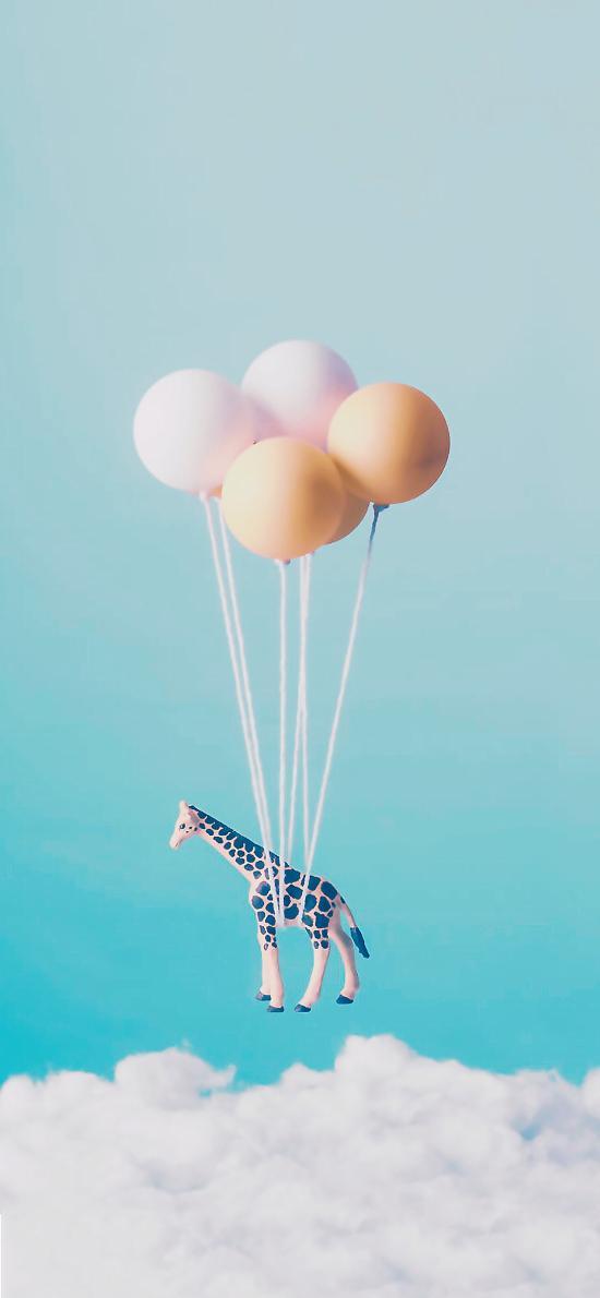 气球 玩具 长颈鹿 空中
