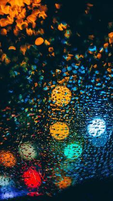 雨水 光 玻璃 水滴 水珠 夜