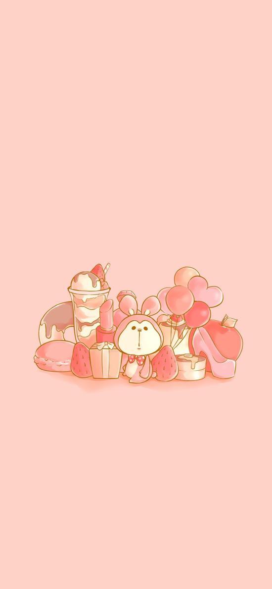 粉色系 卡通 兔子 甜品