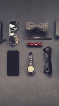 静物摆拍 手表 眼镜 蝴蝶结 手机