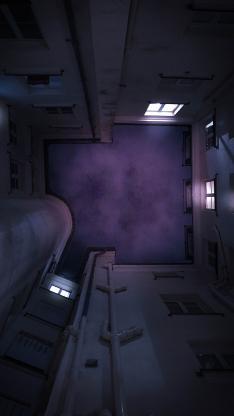 楼房 建筑 仰视 天空 夜 窗 灯光