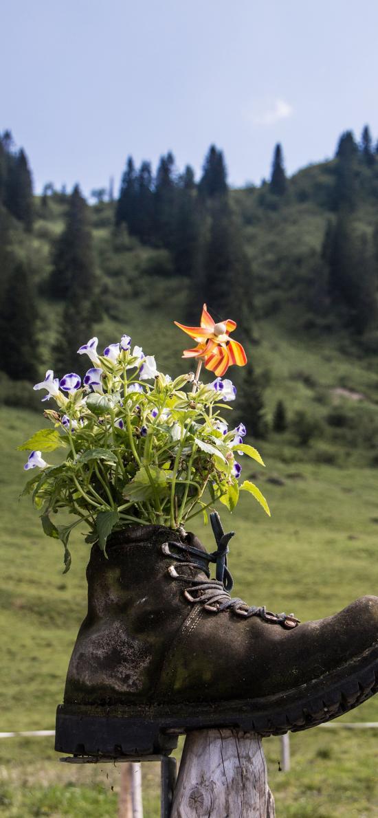短靴 种植 户外  小花