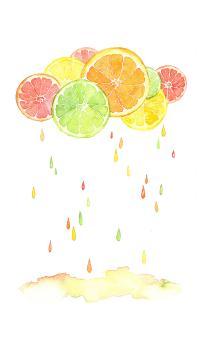 柠檬雨 下雨 水彩 插画