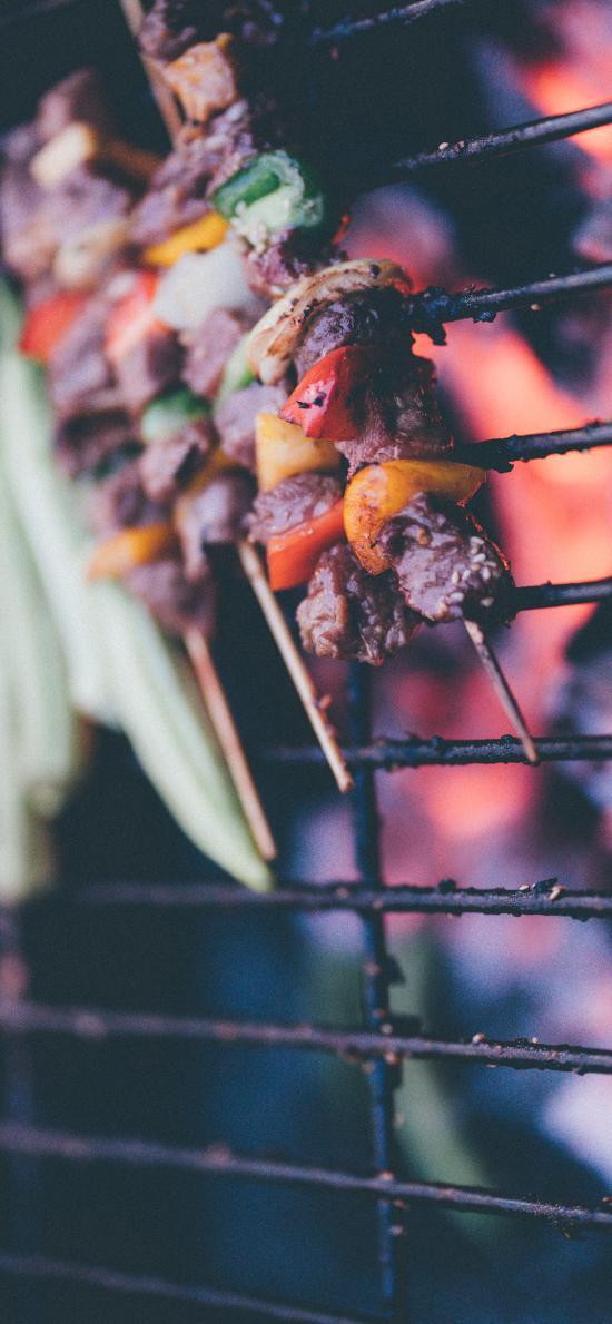 烧烤 烤串 牛肉 蔬菜