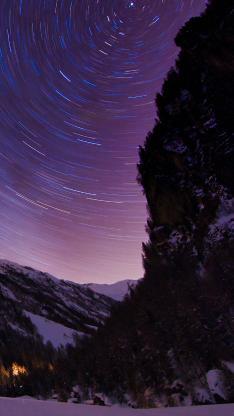 夜晚 天象 光圈 树木