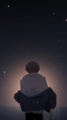 怦然心动 国产漫画 少年 夜 星空 背影