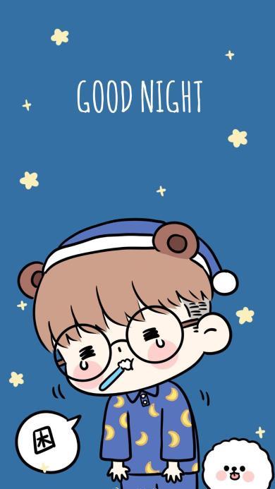 卡通 情侣 男孩 good night