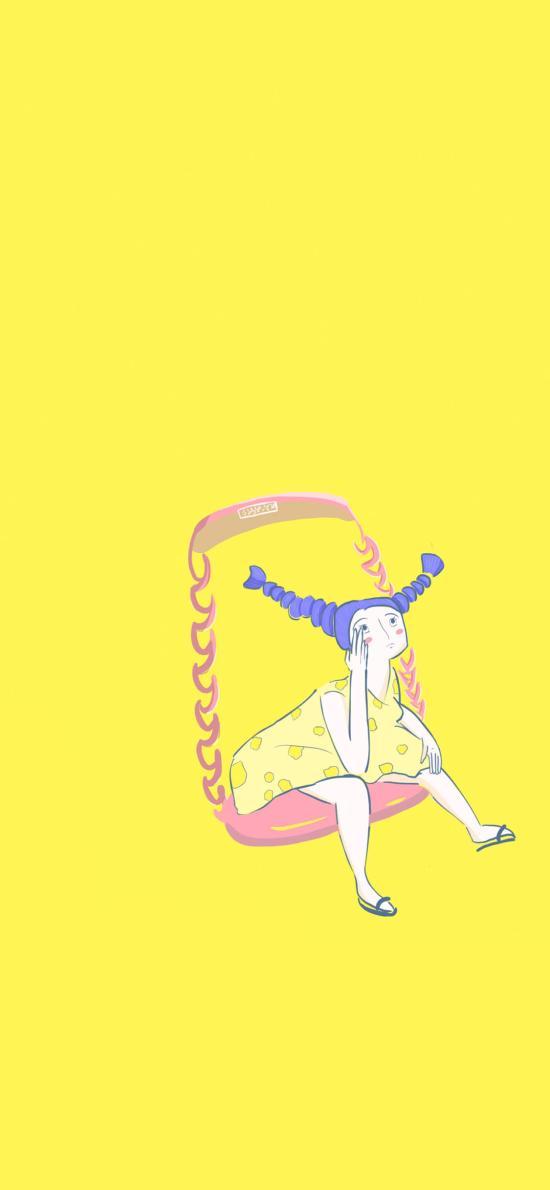 黄色背景 卡通 女孩 朝天辫
