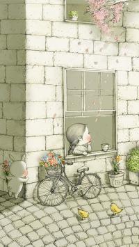 插画 小女孩 单车 兔子