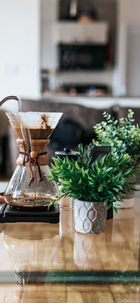 盆栽 咖啡壶 滴漏式 玻璃器皿