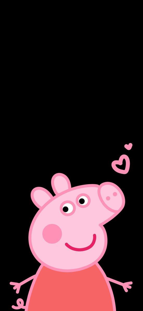 小猪佩奇 爱心 卡通 动画 可爱 黑色