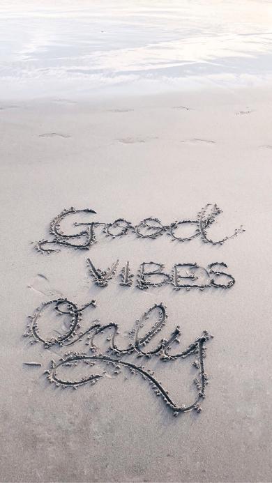 good vibes only 英文 好心情 沙滩