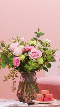 插花 水培 鲜花 花艺 粉色 玫瑰