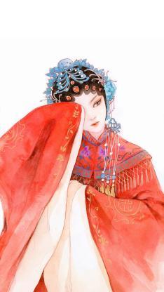 绘画 手绘 花旦  红袍