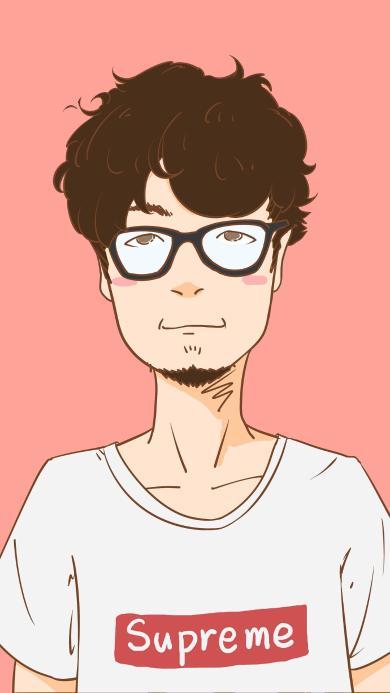卡通 情侣 男生 眼镜