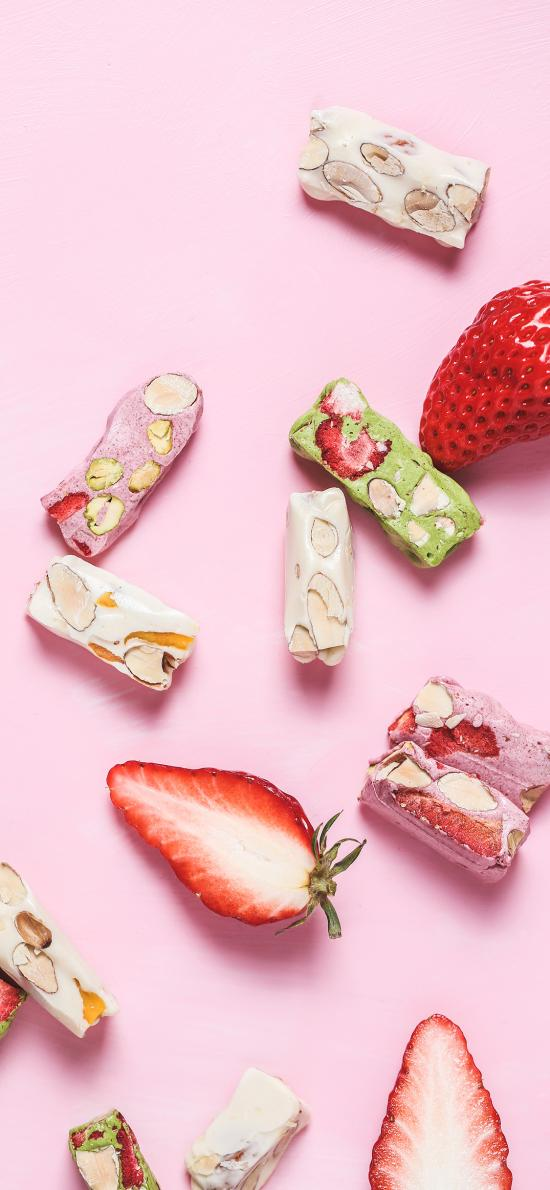 新鲜水果 草莓 牛轧糖