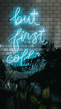 灯牌 but first coffee 盆栽 灯光
