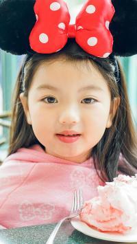 阿拉蕾 崔雅涵 小女孩 萌 可爱 米奇头箍