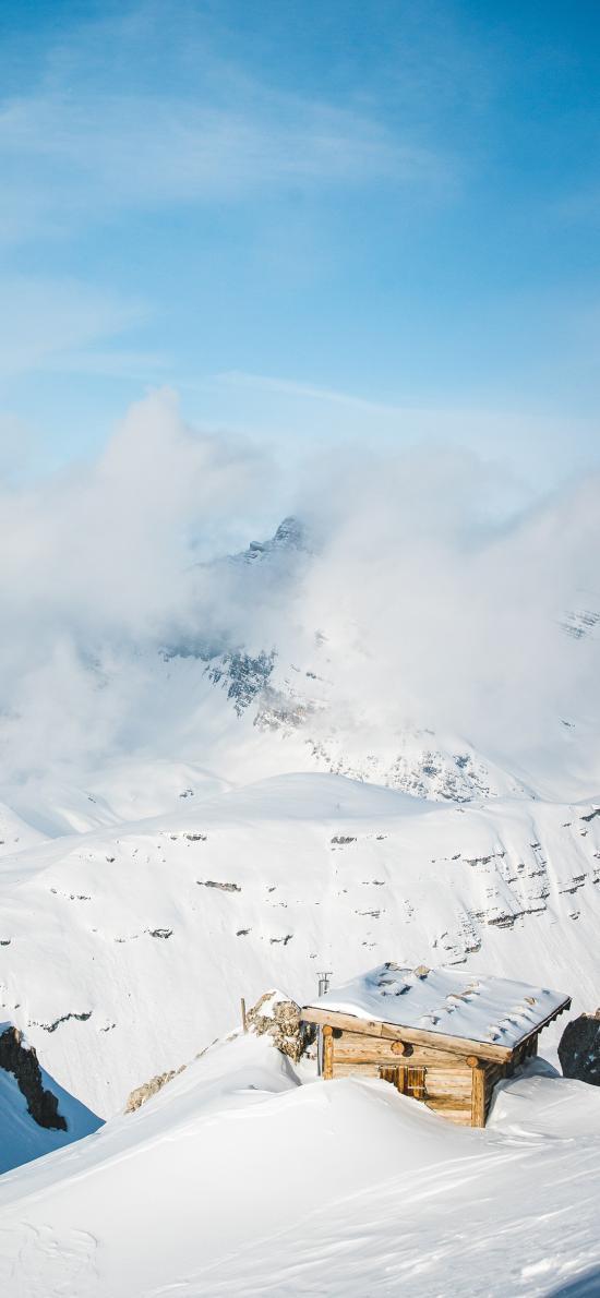 雪地 白雪覆蓋 小木屋