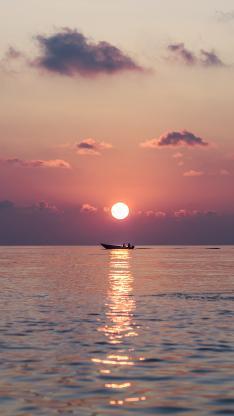 日落 夕阳 海平面 船只 太阳
