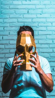 欧美 型男 面具 金色