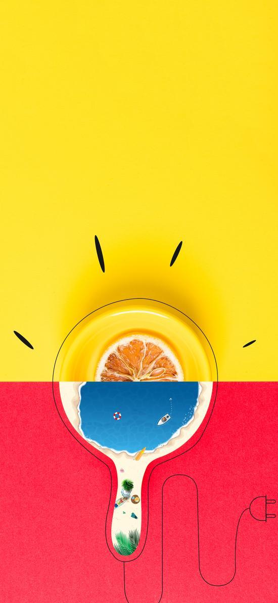 创意 摆拍 灯泡 柠檬片