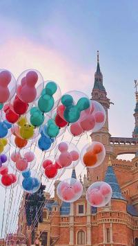 气球 迪士尼 建筑 天空