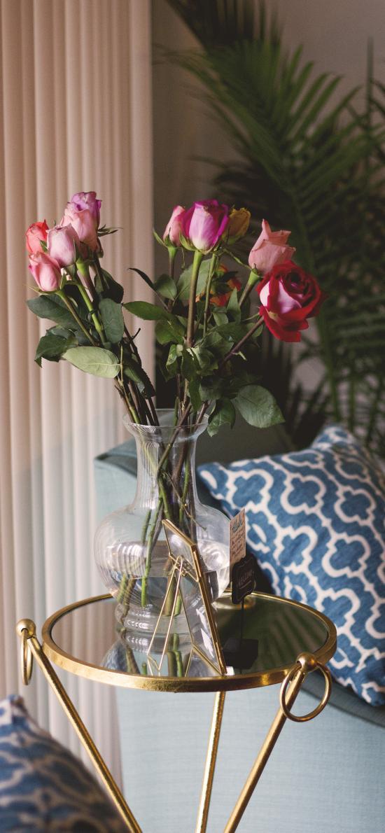 玫瑰 花瓶 家居 鲜花