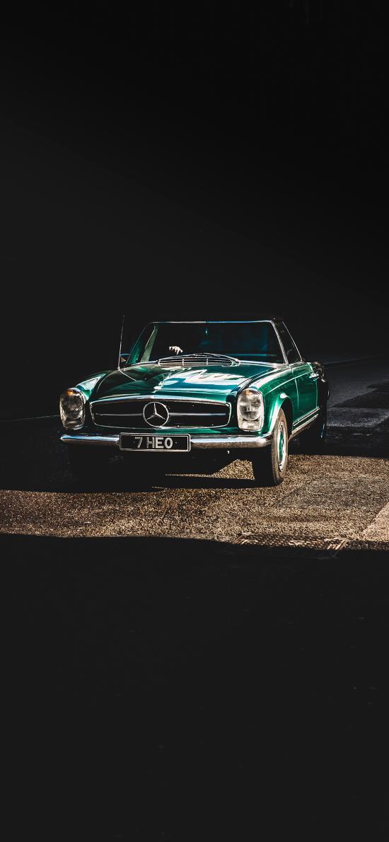 汽车 奔驰 绿色 复古