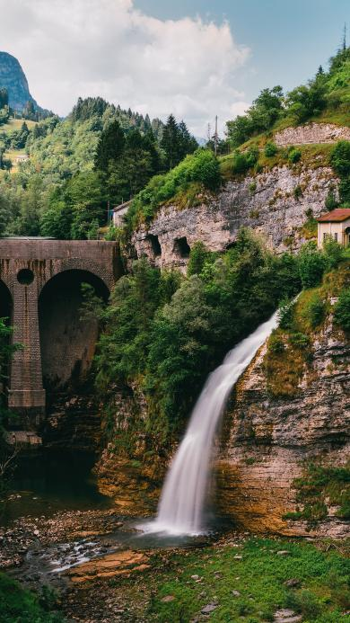 景色 大自然 山水 瀑布