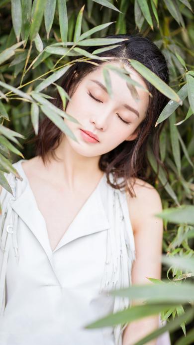 李沁 演员 明星 艺人 小清新 枝叶