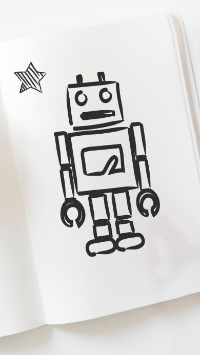 简笔画 机器人 卡通 简约