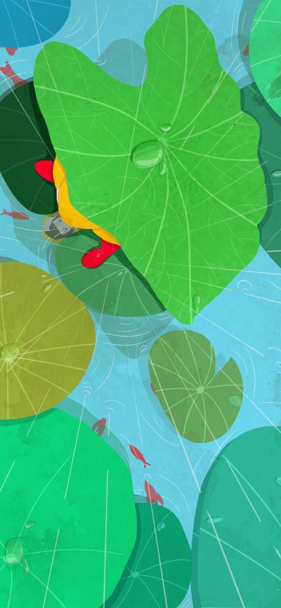 谷雨 插画 二十四节气 雨水 女孩 荷塘 荷叶