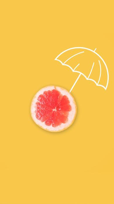 西柚 切片 黄色 雨伞