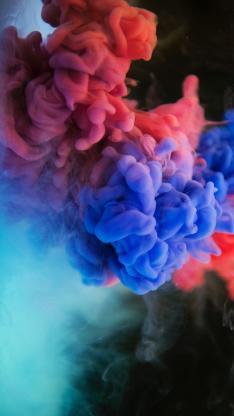 烟雾 红蓝 晕染 弥漫
