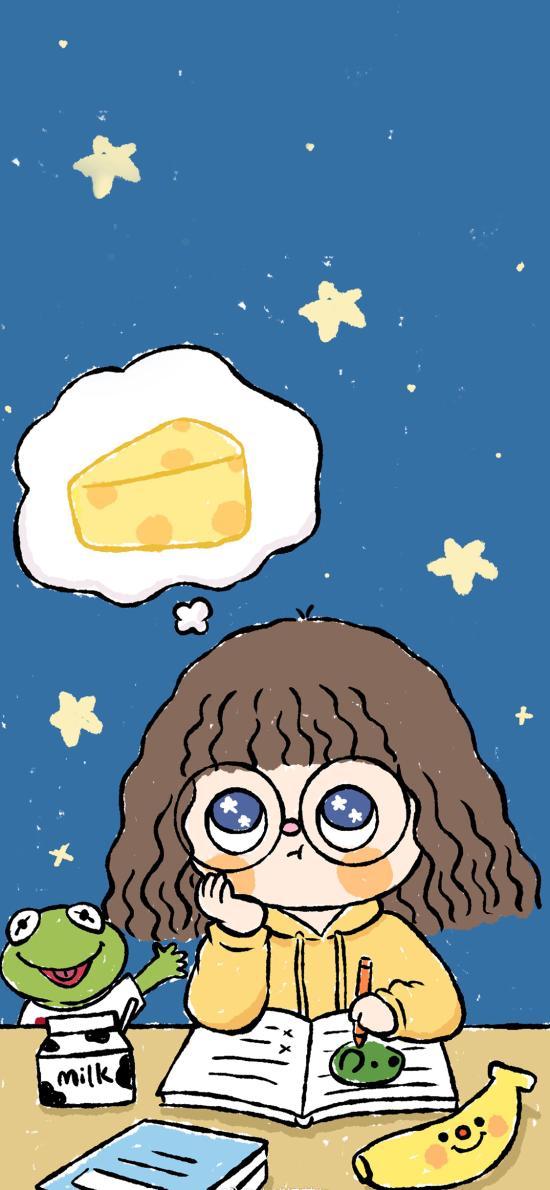 卡通女孩 短发 思考 奶酪