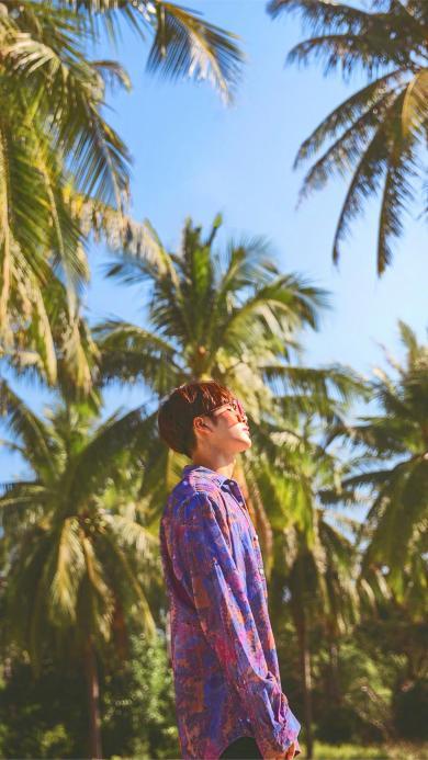 王嘉尔 明星 歌手 专辑封面 椰子树 艺人