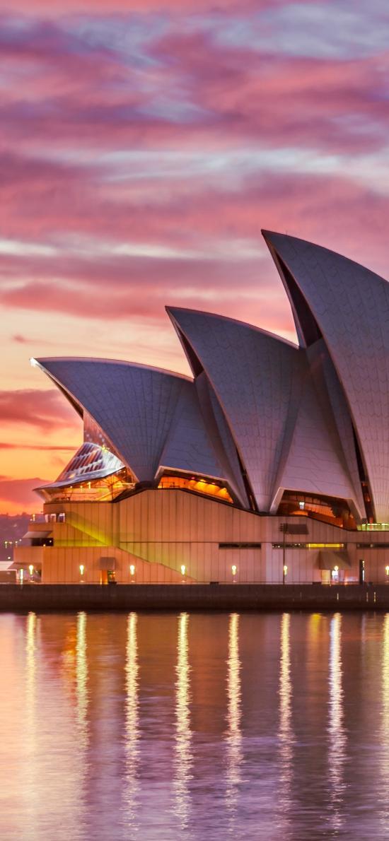 傍晚 悉尼歌剧院 景色 云彩 建筑