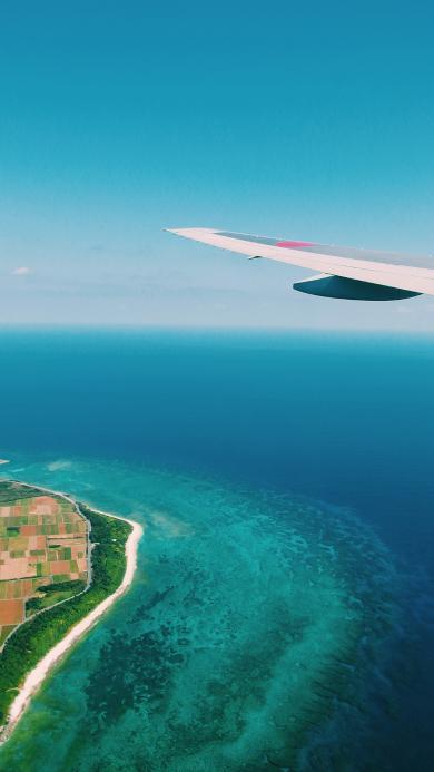 机翼 飞行 高空 大海