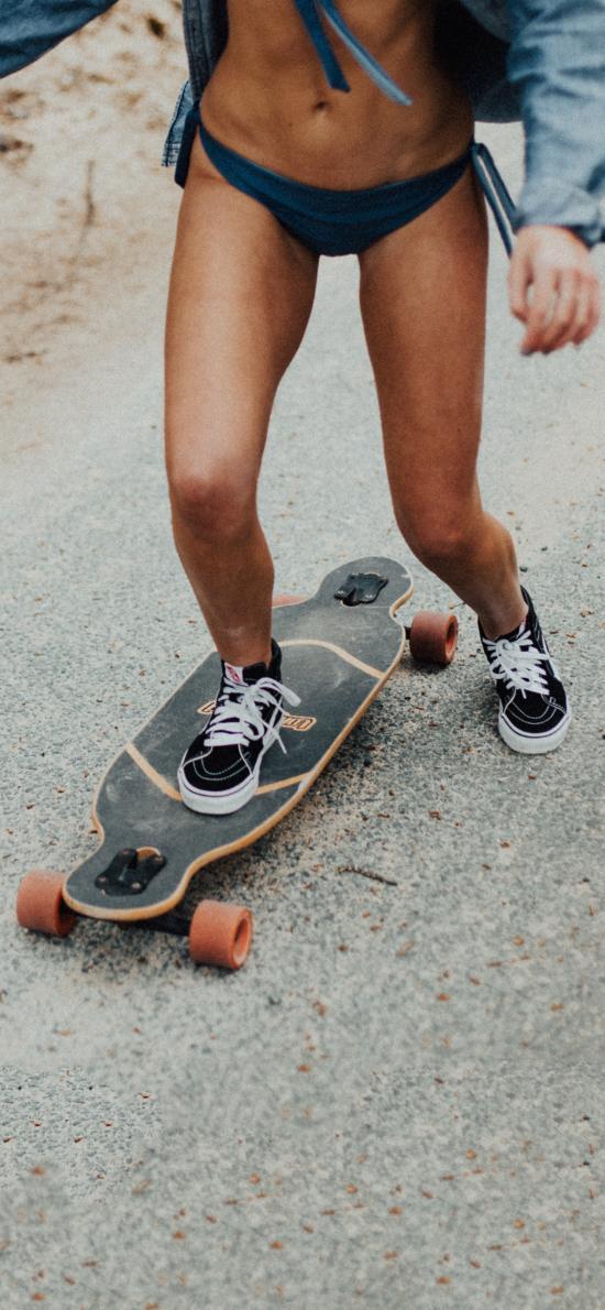 休閑運動 滑板 女孩 性感