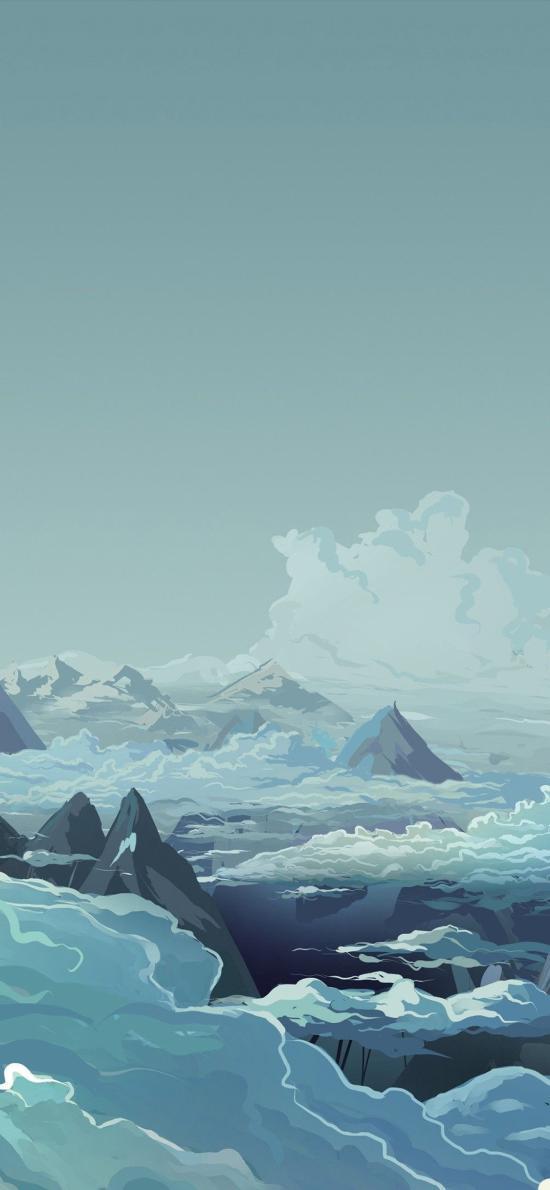 天空 手绘 云层 山