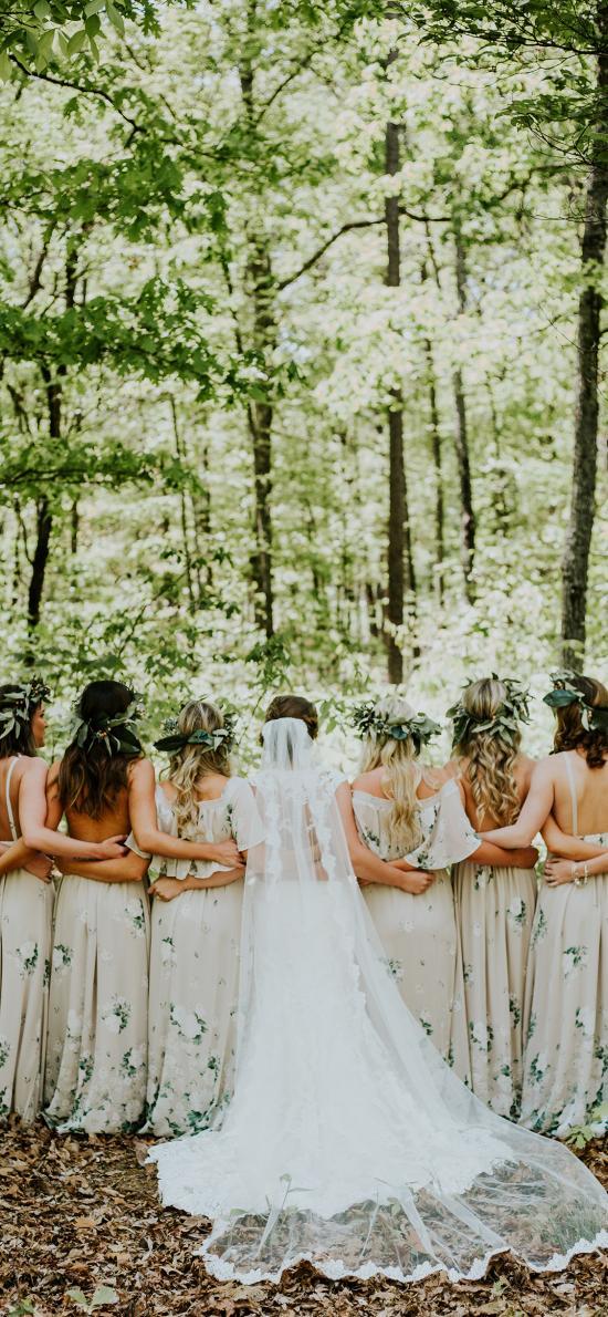 背影 婚纱 礼服 伴娘 姐妹团