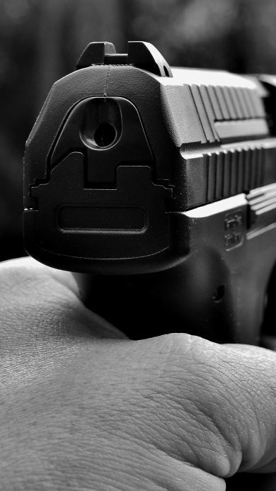 手枪 黑白照 射击 武器